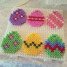 Easter eggs hama perler by lbachj Perler Beads, Perler Bead Art, Fuse Beads, Hama Beads Design, Pearler Bead Patterns, Iron Beads, Melting Beads, Bead Crafts, Easter Crafts