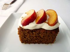 Gingerbread Cake with Peaches