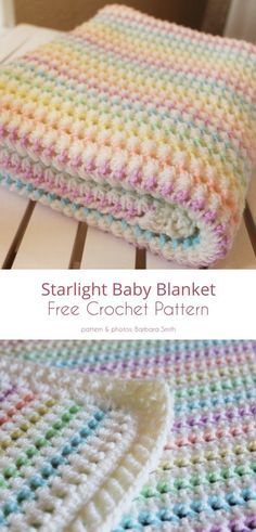 Crochet Afghans, Crochet Baby Blanket Free Pattern, Crochet Baby Blanket Patterns, Easy Baby Knitting Patterns, Knitting Tutorials, Tunisian Crochet, Crochet Granny, Crochet Bebe, Free Crochet
