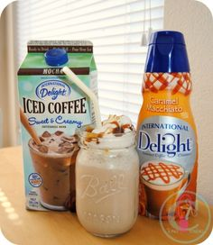 Mocha Caramel Macchiato Frappe Amp Up Your Iced Coffee this Summer with great tasting drinks from International Delight. Try our new iced coffee creation recipe - Fresh Drinks Homemade Iced Coffee, Iced Coffee Drinks, Coffee Drink Recipes, Starbucks Recipes, Starbucks Drinks, Frozen Coffee Drinks, Frozen Drink Recipes, Homemade Frappuccino, Cold Brew Kaffee