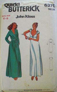 John Kloss Misses Nightgown and Robe Sewing by Shelleyville