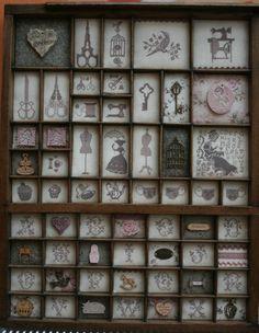 LETTERKAST BORDUREN Small Cross Stitch, Cross Stitch Finishing, Cross Stitch Charts, Blackwork Embroidery, Embroidery Stitches, Drawer Inspiration, Letterpress Drawer, Printers Drawer, Vintage Crafts