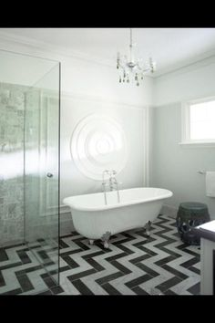 Twomey Country in the Southern Highlands, by Greg Natale Design. A finalist in the Australian Interior Design Awards residential decoration category.Very Twin Peaks. Chevron Bathroom, Chevron Tile, Chevron Floor, Herringbone Tile, Bathroom Floor Tiles, Tile Floor, Marble Floor, White Bathroom, Wall Tiles