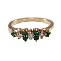 Yellow Gold Emerald and Diamond Band, Vintage Band, Estate Jewelry, May Birthstone, Vintage Jewe Estate Engagement Ring, Diamond Bands, Round Diamonds, Birthstones, Emerald, Jewelery, Vintage Jewelry, Yellow, Earrings
