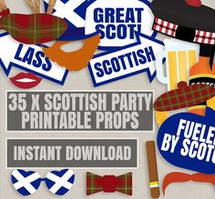 35 Scottish Party Props, Printable Scotland themed photo booth Props, Scottish p. 35 Scottish Part Spy Party, Party Props, Party Themes, Party Ideas, Diy Ideas, Photos Booth, Diy Photo Booth, Secret Agent Party, Backdrops For Parties