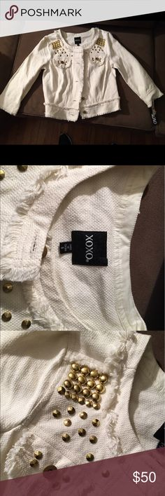 Xoxo Small off white denim jacket Off White size small denim jacket. Gold beads along the front pockets. New never worn with tags XOXO Jackets & Coats Jean Jackets