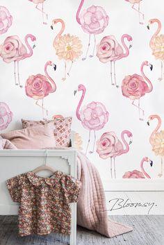 Removable wallpaper Flamingo Roses Wallpaper Peel and