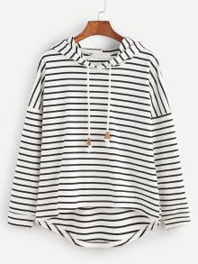 Black White Striped Drop Shoulder High Low Hooded Sweatshirt