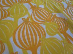 Sunny Poppy Pods - Hand Printed cotton fabric - half yard