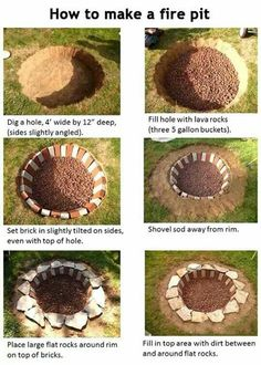 6 fire pits you can make in a day outdoor decorating projects, 31 diy outdoor fireplace and firepit ideas for the home diy, fire pit project (you can do in one hour!), 57 inspiring diy outdoor fire pit ideas to make s'mores with your family, How To Build A Fire Pit, Diy Fire Pit, Fire Pit Backyard, Backyard Seating, Backyard Patio, Backyard Landscaping, Backyard Bonfire Party, Railroad Ties Landscaping, Bonfire Birthday