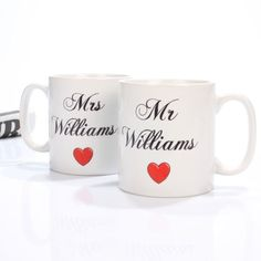 This pair of Mr and Mrs Mugs make a wonderful gift for a newlywed couple or a couple celebrating a special anniversary.