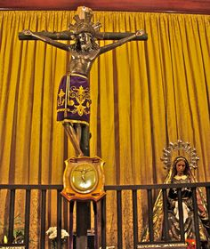 The crucifix from the ship of Don Juan of Austria in The Battle of Lepanto. The oncoming Moslem Turks shot a cannon at it and the Corpus miraculously swerved to the right, avoiding the shot, and stayed that way ever since. This treasure is venerated at The Cathedral of San Eulalia in Barcelona, Spain.