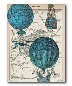 Where might your adventures take you today? :: Blue Hot Air Balloon Canvas Wall Art
