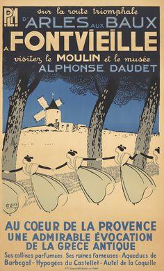 Vintage Railway Travel Poster -  - Fontvieille - sur la route triomphale d'Arles aux Baux - Provence - 1935 - illustration de Léopold Lelée.