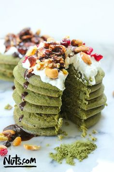Matcha Green Tea Pancakes Recipe - Whip up a delicious batch of these Matcha green tea pancakes for an energizing breakfast that's packed with protein and fiber.