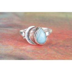 925 Silver Moon Larimar Gemstone Ring via Polyvore featuring jewelry, rings, silver gemstone jewelry, gemstone jewellery, gem rings, gemstone jewelry and larimar rings