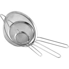Stainless Steel Fine Mesh Strainers Set of 3 All Purpose Colander Sieve for Superior Baking and Cooking Preparation (3 Pack Large)