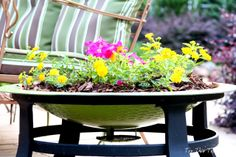 Repurposing an old fire pit in a fabulous garden planter. www.topthistopthat.blogspot.com