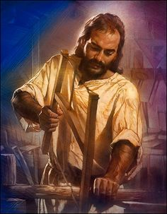 """""""This piece was originally commissioned for Andrews University to hang in the lobby of Harrigan Hall. It is titled """"The Carpenter"""". The artist is Nathan Green. It was desired to portray Jesus as a strong man of trade that he was educated to be."""""""