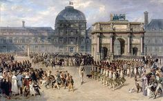 October 6, 1789: The Versailles-based National Assembly, proclaiming its inseparability from the king, transfers closer to the royal family's New Home—Tuileries Palace.  Painting by Hippolyte_Bellangé