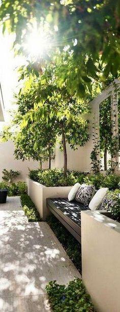 New Ideas For Garden Bench Ideas Landscaping Retaining Walls - Modern Pergola Patio, Backyard Patio, Backyard Landscaping, Landscaping Ideas, Pergola Screens, Terraced Landscaping, White Pergola, Backyard Plants, Driveway Landscaping