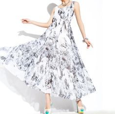 Summer fashion printed Chiffon Long dress by YL1dress on Etsy, $89.00