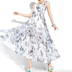 Summer fashion printed Chiffon Long dress by YL1dress on Etsy, $89.00