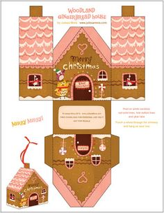Paper Gingerbread house 5 Template free download