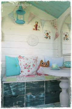 Garden shed (playhouse)   makeover. Dossa at http://www.skreytumhus.is/ did a fantastic makeover for her kids, a must see ;)