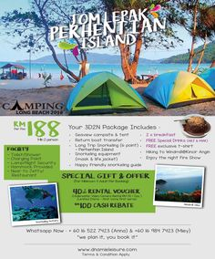 Grab the interesting and cheaper Perhentian Island Packages now. Long Beach, Campsite, Windmill, Snorkeling, Outdoor Gear, Islands, Tent, Hiking, Packaging