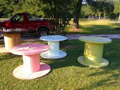Large spool painted use for outdoor tables.