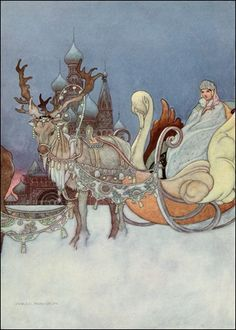 Arthur Rackham illustration Charles Robinson, The Happy Prince and Other Tales Art And Illustration, Book Illustrations, Princess Illustration, Botanical Illustration, Arthur Rackham, Fantasy Kunst, Fantasy Art, The Happy Prince, Reindeer And Sleigh