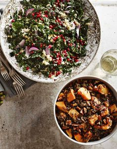 Wild Rice Pilaf with Dried Cherries, Apricots and Butternut Squash // Kale Salad with Quinoa, Pistachios and Pomegranate Seeds