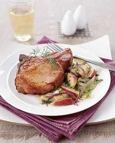 Smoked Pork Chops with Cabbage & Apples - What a delicious addition to any restaurant menu this winter!