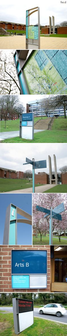 Integrated pedestrian & vehicular campus wayfinding and signage design for the University of Sussex by fwdesign.