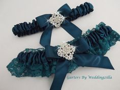 Plus Size Bridal Garter/ Teal Wedding Garter Set / by Weddingzilla
