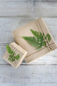 sometimes simple can be so beautful - brown paper and string gift wrap made special with the addition of a fern frond #giftpackaging