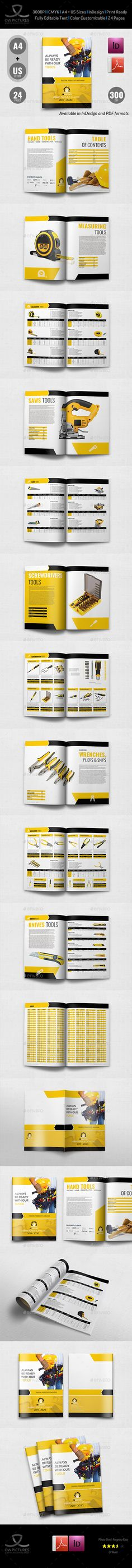 Hand Tools Products Catalog Brochure Template - 24 Pages - #Catalogs #Brochures Download here: https://graphicriver.net/item/hand-tools-products-catalog-brochure-template-24-pages/20097276?ref=alena994