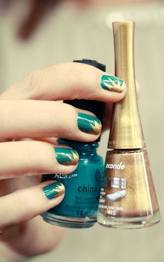 teal and gold nail polish #design