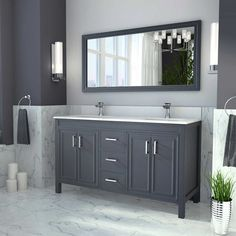 Guest Bathroom Vanity - Corniche Pepper Gray Double Sink Vanity By Studio . - LJ Remodel - Interior - Make up 60 Vanity, Blue Vanity, Grey Bathroom Vanity, Double Sink Bathroom, Double Sink Vanity, Best Bathroom Vanities, Double Sinks, Master Bathroom, Vanity Redo