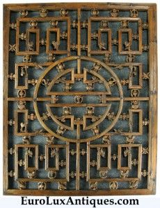 This antique Chinese window screen becomes a beautiful piece of Folk Art in our client's living room Antique Chinese Furniture, Oriental Furniture, Asian Furniture, Vintage Furniture, Folk Art Flowers, Flower Art, Chinese Architecture, Art And Architecture, Chinese Design