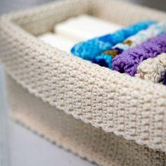 Crochet Basket and washcloths for the bathroom...