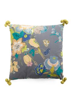 If someone gets me this pillow for x-mas, I'll be super stoked!!! ONLY 5 LEFT!!! Fowl Play Pillow by Karma Living - Yellow, Green, Blue, Floral, Multi, Grey, Tassles, Dorm Decor, Handmade & DIY