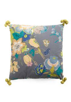 Fowl Play Pillow by Karma Living - Yellow, Green, Blue, Floral, Multi, Grey, Tassles, Dorm Decor, Handmade & DIY