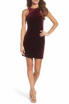 Alternate Image 1 Selected - La Femme High Neck Velvet Body-Con Dress
