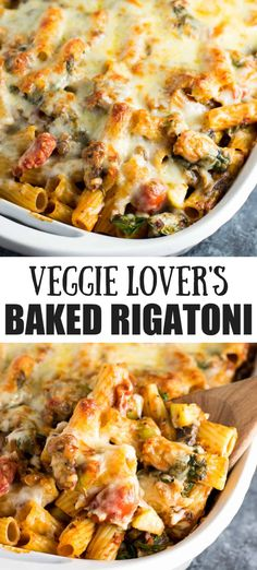 This veggie lovers baked rigatoni is packed. This veggie lovers baked rigatoni is packed full of cherry tomatoes onions garlic mushrooms bell peppers zucchini and spinach. A hearty and delicious vegetarian dinner! Tasty Vegetarian Recipes, Vegetarian Recipes Dinner, Vegan Dinners, Veggie Recipes, Cooking Recipes, Healthy Recipes, Baked Pasta Recipes Vegetarian, Crockpot Recipes, Vegetarian Recipes