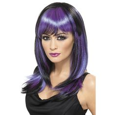 Buy Glamour Witch Wig at cheap price. Glamour Witch Wig, Black and Purple, Long with Fringe Exude glamour at the Halloween party with the Glamour Witch Wig. Adulte Halloween, Halloween Wigs, Halloween Party, Halloween Cosplay, Witch Fancy Dress, Halloween Fancy Dress, Purple Halloween, Violette Highlights, Glamour