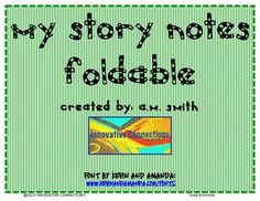 Story Elements: MY STORY NOTES FOLDABLE $1.49