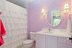 : Remarkable Cheap Shower Curtains Design At Fancy Traditional Bathroom Inside Applied Floral Wallpaper And White Vanity Shabby Chic Shower Curtain, Ruffle Shower Curtains, Bathroom Shower Curtains, Girl Bathrooms, Purple Bathrooms, Bathroom Kids, Small Bathroom, Cozy Bathroom, Cortina Box