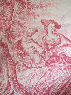 Antique toile de joug fabric  ROMANTIC    VINTAGE  IN  DEMEURE  ANCIENNE  IN FRANCE **+